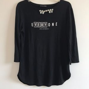 "Zara  ""Everyone Loves Differently""  black tunic"